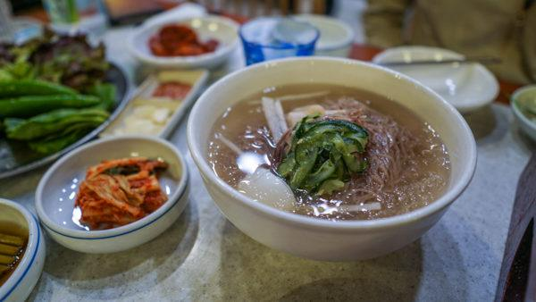 Naengmyeon cold buckwheat noodle soup