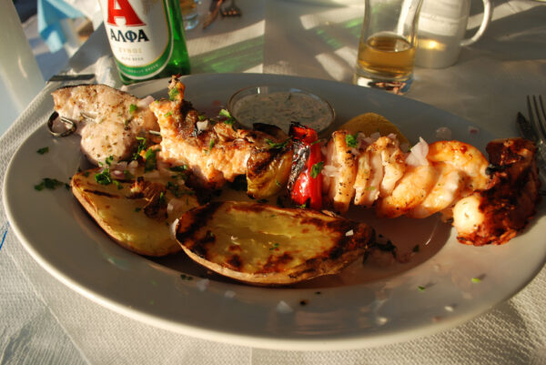 Seafood Skewer at Akgrogiali in Chania