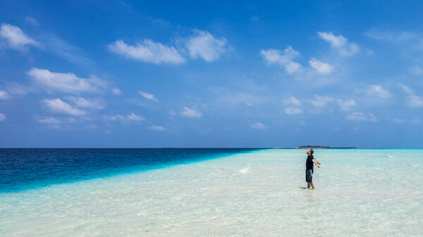 On a sandbar outside of Fulidhoo