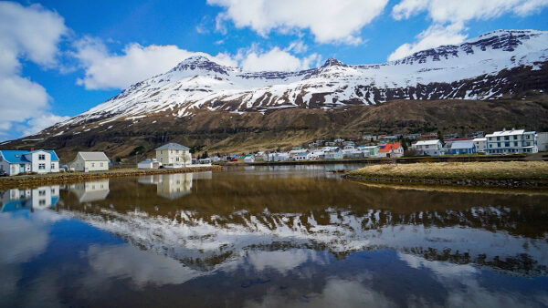 Village Reflections in the Water in Iceland