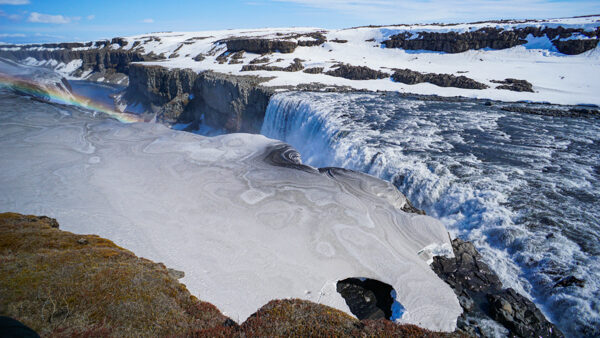 Detifoss Waterfall with Snow and Ice