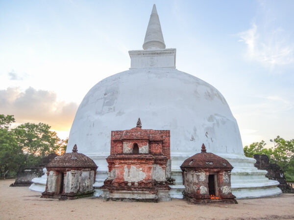 Sunset at the Kiri Vihara Stupa in Sri Lanka