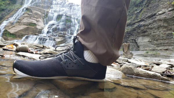 Walking Through A Creek with Waterproof Shoes