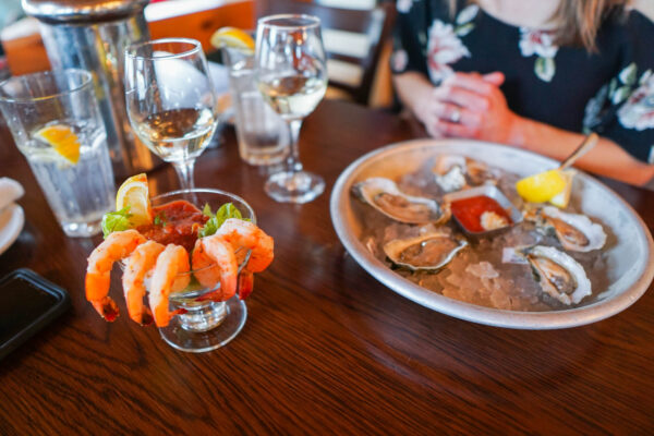 Oysters, Shrimp Cocktail, and Wine