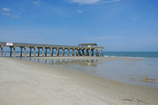 Tybee Island Beach and Pier at Low Tide