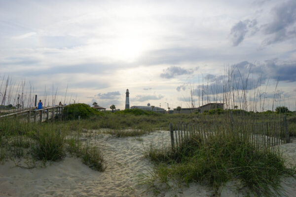Sand dunes and Light House from Tybee North Beach