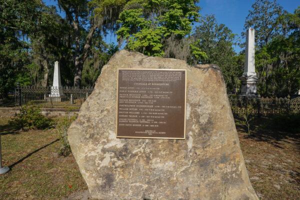 Memorial to Colonists at Bonaventure in Savannah