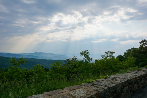 Rays of sun coming through the clouds on Skyline Drive