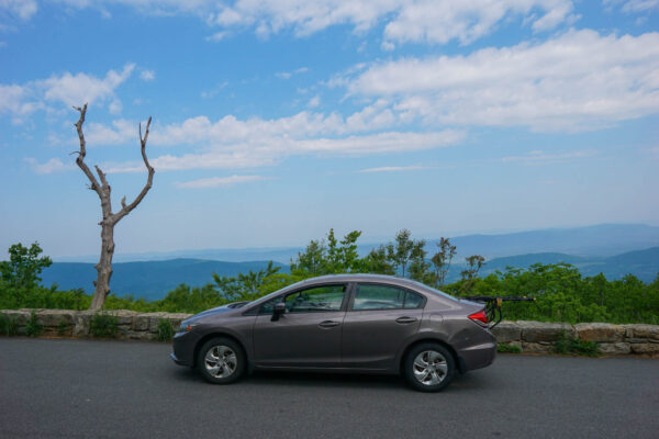 Parking at a Lookout on Skyline Drive