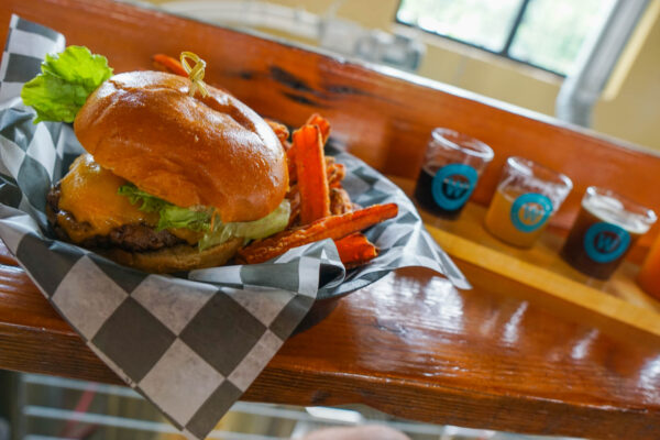 Burger and Beer Flight at Woodstock Brewhouse